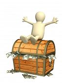 Happy puppet and a treasure chest. Isolated over white
