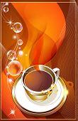 Xícara de café com elementos de design abstrato