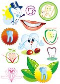 Happy smiling Tooth on white background - vector set illustration. Eleven Medical icons of teeth. - Part 2. Collection stomatology isolated different symbols.