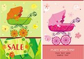 Baby girl birthday floral arrival announcement card over light pattern. Illustration of a pram for a