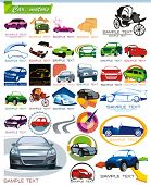 COLLECTION_7 exclusiva serie de automóviles, motores y coche Icon Set para diseño, ilustración vectorial. Glos
