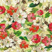 Bright Seamless pattern with beige and red flowers, vector illustration with butterflies.