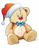 Little teddy bear hat as Santa Claus. Christmas illustration.