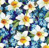 Stylish beautiful blue floral seamless pattern. Abstract Elegance vector illustration texture with forget-me-not and Daffodils.