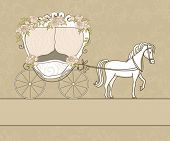 stock photo of white horse  - vintage card with carriage - JPG