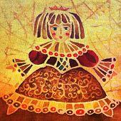 Image of my batik artwork with a doll princess