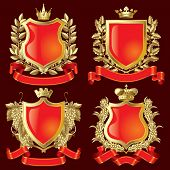 Vector set gold heraldische Symbole