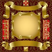 Raster version of vector set of old gold banners with border elements on a background (contain the C