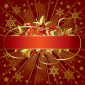 Isolated raster version of vector gold Christmas banner (contain the Clipping Path of the banner and