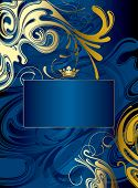 Raster version of vector gold-blue abstract background