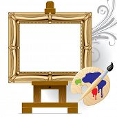 Vector gold frame on a easel