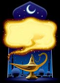 Isolated raster version of vector poster with the Aladdin's Magic Lamp (contain the Clipping Path)