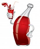Vector image of cartoon soda bottle with a glass in a hand