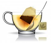 Vector image of a tea bag in the cup with hot water