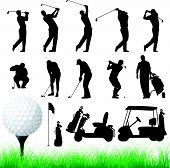Golfista siluetas