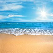 Paradise Sea or Ocean Sunny Beach with gentle  surf of wave and clean yellow sand - Summer concept b poster