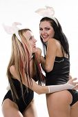 Two sexy model with bunny ears over white background