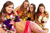 stock photo of hula dancer  - Beautiful hawaiian Hula Dancer Girls - JPG