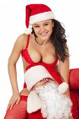 pic of promiscuous  - Portrait of Santa Claus with sexy girl in Santa hat - JPG