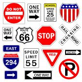 Road and highway signs (vector)