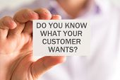 Businessman Holding A Card With Do You Know What Your Customer Wants ? Message poster