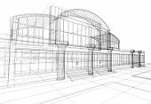 picture of structural engineering  - 3D rendering wireframe of office building white background - JPG