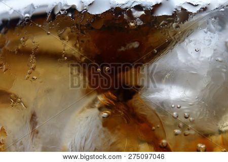 Closeup Beverage Cola And Cubes