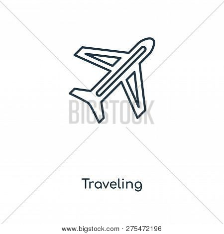 poster of Traveling Icon In Trendy Design Style. Traveling Icon Isolated On White Background. Traveling Vector