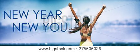 poster of New Year New You Fitness banner background - active lifestyle change woman winner with arms up in su