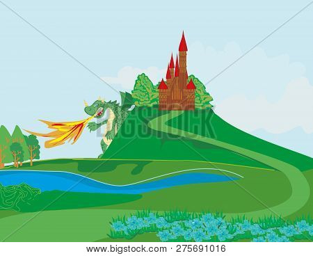 Dragon Attacks The Kingdom Castle