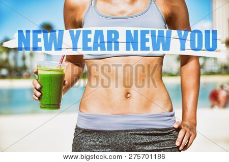 poster of New Year resolution for 2019 : Getting in shape with fitness and diet. Fit woman with abs flat stoma