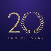 20 Th Years Old Logotype. Isolated Congrats Abstract Color Dot Graphic Symbol Of 20%. Shiny Straight poster