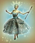 stock photo of faerie  - a dancing ice princess with ball gown and magic wand - JPG
