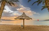 Public Beach In Eilat - Famous Tourist Resort And Recreational City In Israel  Symbolizing Vacation, poster