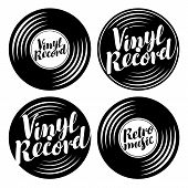 Vector Black And White Set Of Music Icons In The Form Of Vinyl Records With Calligraphic Inscription poster