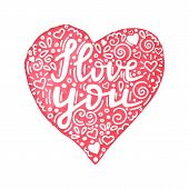 I Love You Hand Written Quote In Watercolor Hand Drawn Heart With Floral Ornament. Hand Made Valenti poster