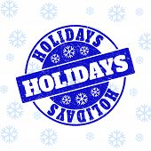 Holidays Round Stamp Seal On Winter Background With Snow. Blue Vector Rubber Imprint With Holidays T poster