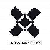 Gross Dark Cross Icon Isolated On White Background. Gross Dark Cross Icon Simple Sign. Gross Dark Cr poster