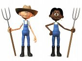foto of farmworker  - Two cartoon farmers holding pitchforks - JPG