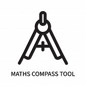 Maths Compass Tool Icon Isolated On White Background. Maths Compass Tool Icon Simple Sign. Maths Com poster