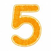 Digit 5 (number Five) Made From Orange Fruit Isolated On White Background With Clipping Path poster