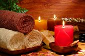 Festive Aromatherapy Candles And Towels In A Spa