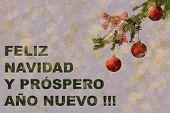 Fir Tree With Red Glitter Balls On White Background. Bokeh Effects. Christmas Postcard. feliz Navid poster