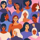 Female Diverse Faces Of Different Ethnicity Seamless Pattern. Women Empowerment Movement Pattern. In poster