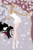 Elegante bailarina en el escenario con flores y pianista en el piano en el fondo
