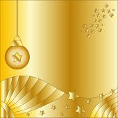 Golden Christmas background with bauble