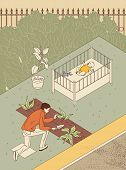 Growing Children And Plants. A Man In The Garden Plants Planted In The Garden. The Infant Is Lying I poster