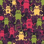 Cute robots seamless pattern.
