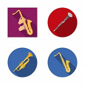 Vector Design Of Trumpet And Brass Logo. Set Of Trumpet And Saxophone Stock Symbol For Web. poster