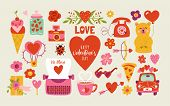 Valentines Day Cute Elements Set. poster